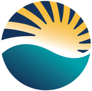 Logo Icon with sun shining and water in shape of a lea with outline