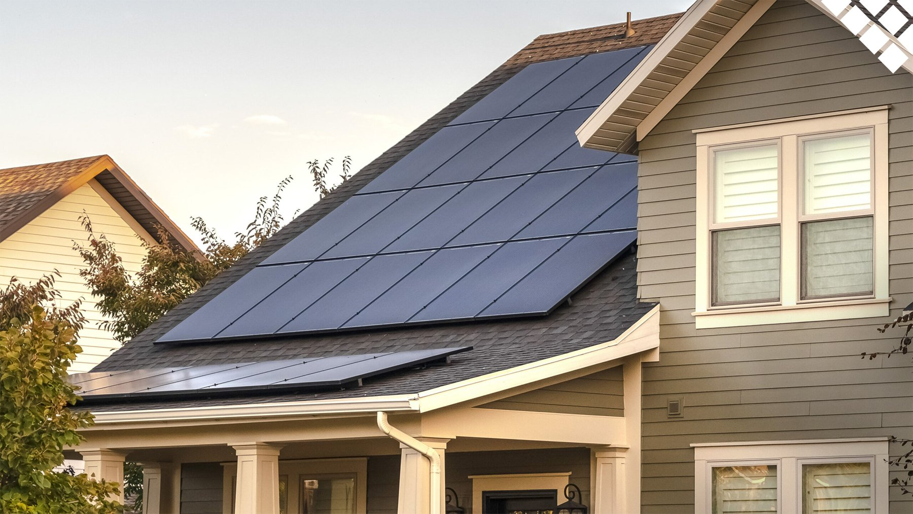 Residential home with solar panels on roof